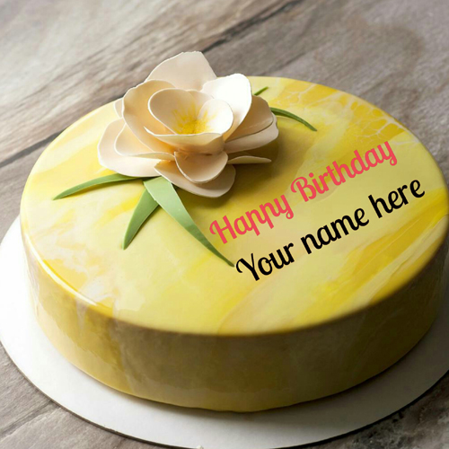 Pineapple Flavor Birthday Cake With Father Name On It