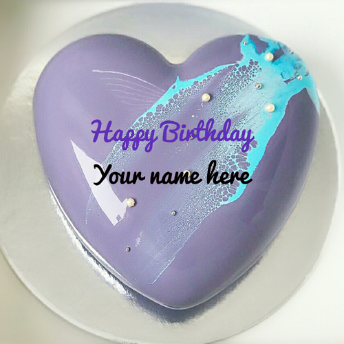 Heart Shaped Black Currant Birthday Cake With Name