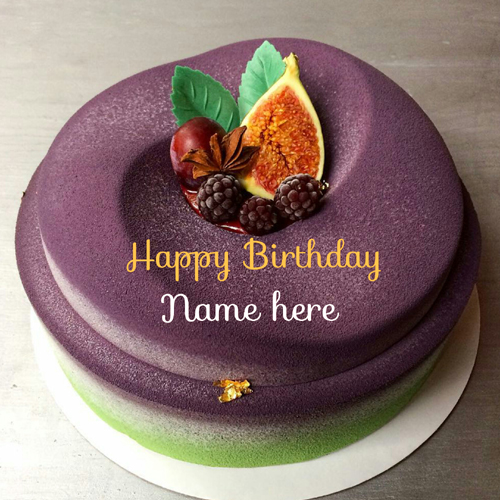 Write Name On Blackcurrant Velvet Cake For Hubby