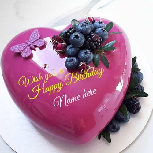 Happy Birthday Heart Cake With Name For Love