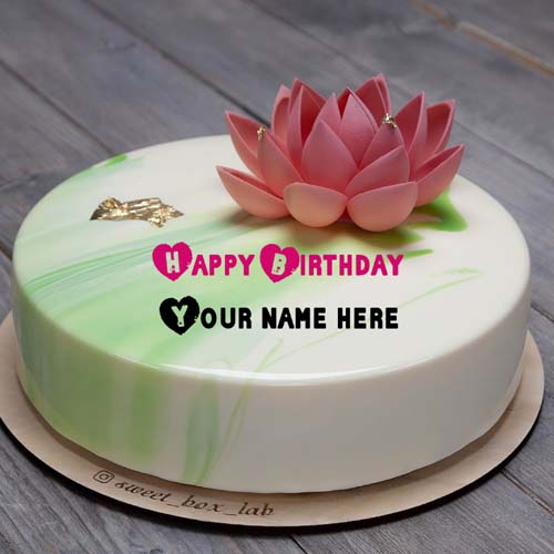 Write Name On Birthday Cake With Lotus Flower