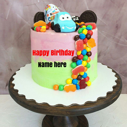 Generate Name On Kids Birthday Cake With Gems Toppings