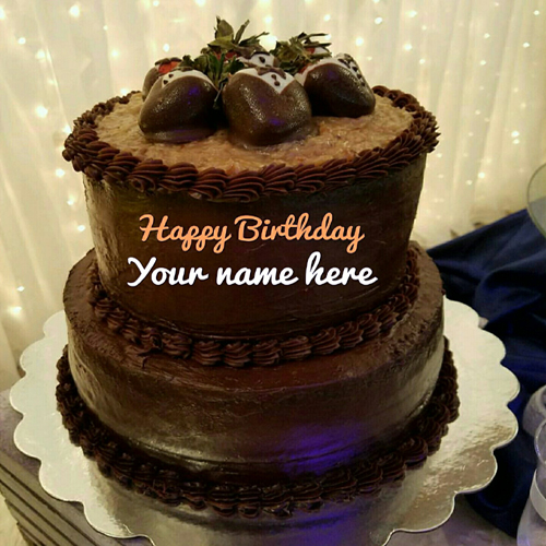 Write Name On Double Layer Chocolate Birthday Cake