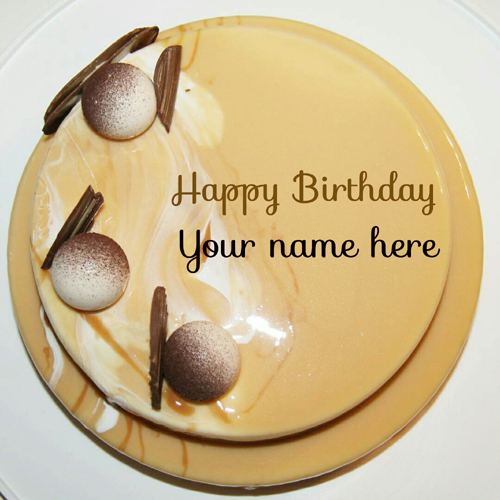 Double Layer Coffee Caramel Birthday Cake With Name