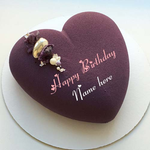 Blackcurrant Heart Birthday Cake With Name On It