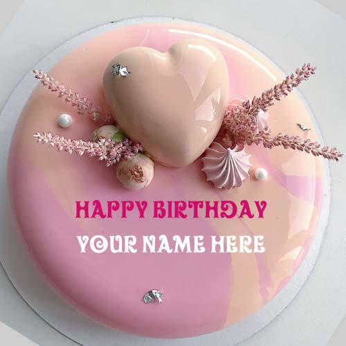Generate Name On Birthday Cake With Heart For Love
