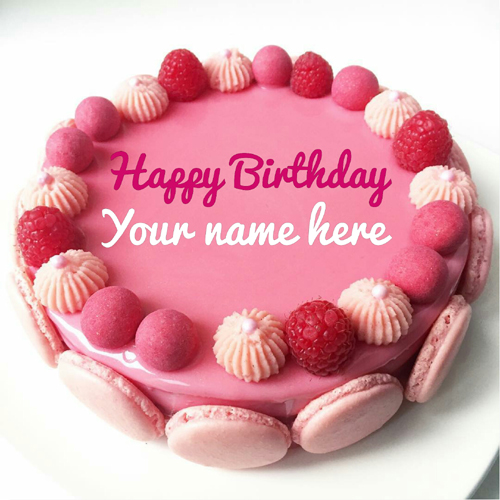 Beautiful Strawberry Birthday Cake With Name For Sister
