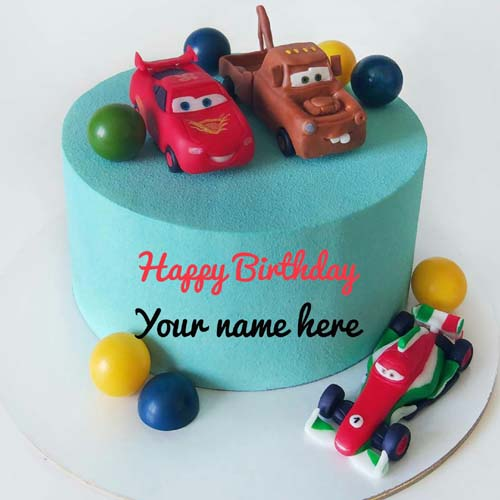 Chocolate Car Birthday Cake With Name On It For Kid
