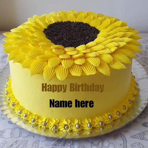 Sunflower Butter Cream Birthday Name Cake For Friend