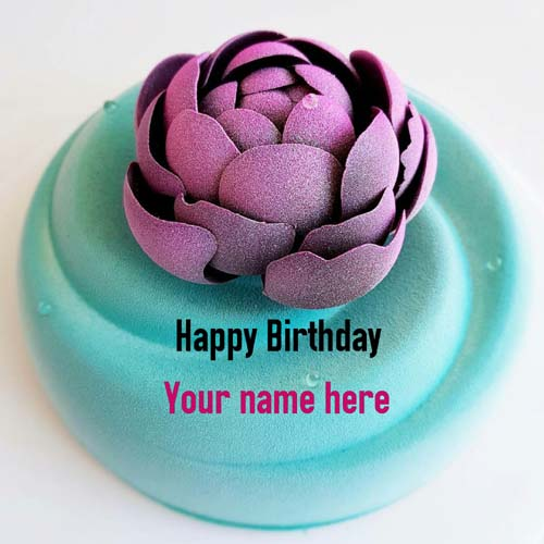 Write Name On Flower Decorated Birthday Cake For Hubby
