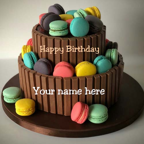 Double Layer Chocolate Birthday Name Cake With Macaroon