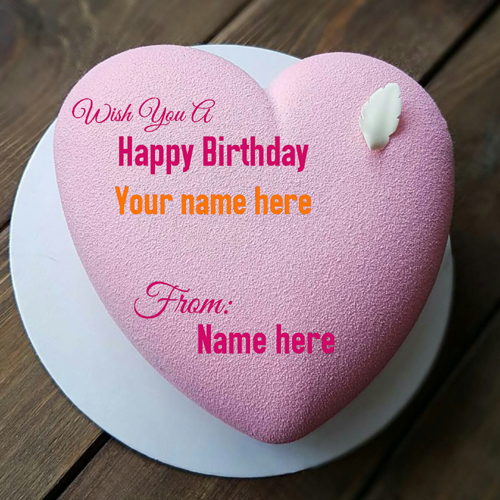 Romantic Strawberry Flavor Heart Cake With Name