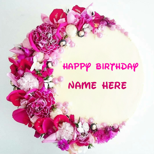 Beautiful Floral Art Round Shape Birthday Cake With Nam