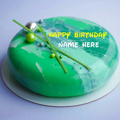 Green Color Marble Birthday Cake With Name For Love