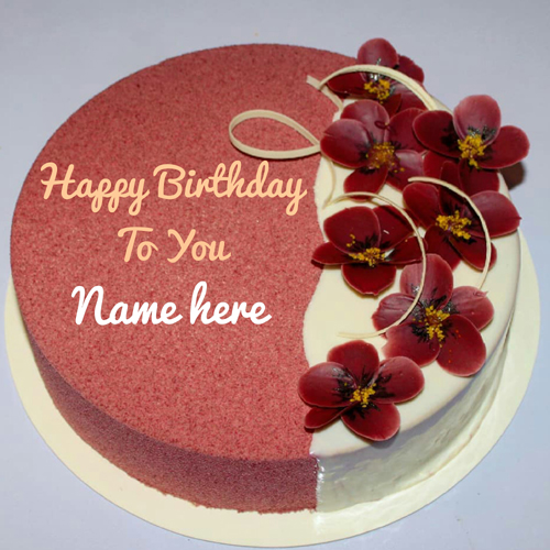 Print Name On Flower Decorated Birthday Cake