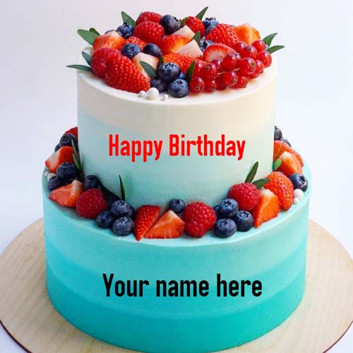 Double Layer Butter Cream Fruit Cake With Name On It