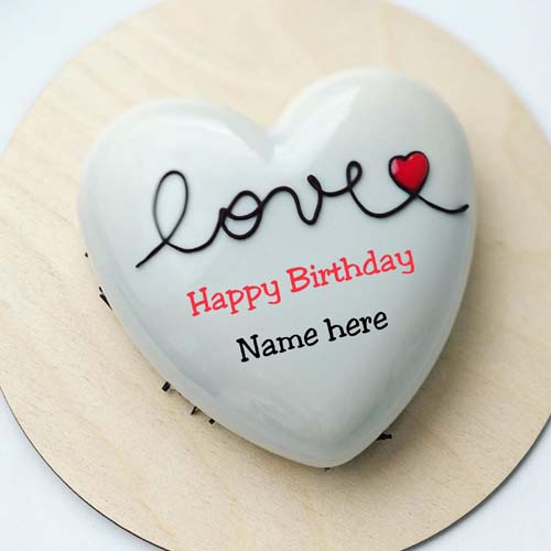 Vanilla Flavor Heart Shape Birthday Cake With Name