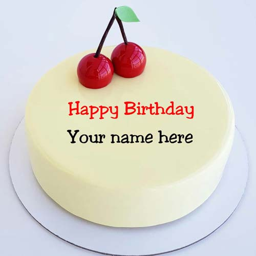 Vanilla Cherry Happy Birthday Name Cake For Brother