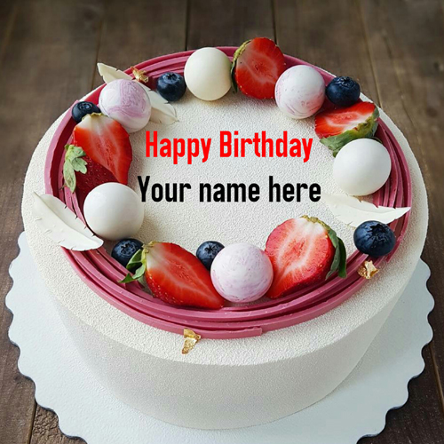 Vanilla Birthday Cake With Fruit Toppings For Hubby