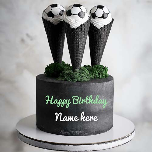Football Special Birthday Cake With Name Edit