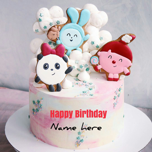 Cartoon Birthday Cake For Kid With Name On It