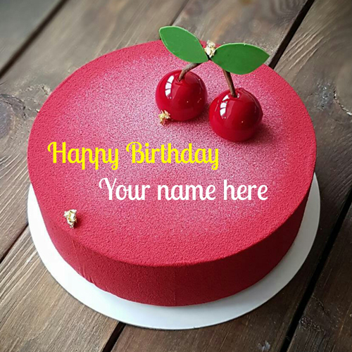Cherry Flavor Birthday Wishes Cake For Friend With Name