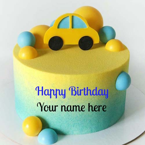 Write Kid Name On Happy Birthday Cake With Car