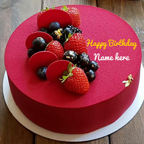 Print Name On Yummy Birthday Cake With Fruit Toppings