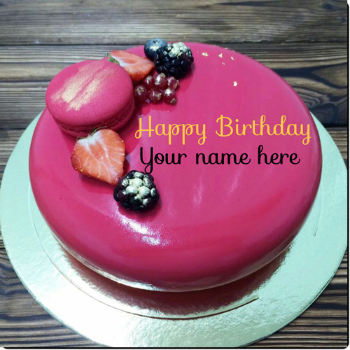 Beautiful Fruit Birthday Cake With Mother Name On It