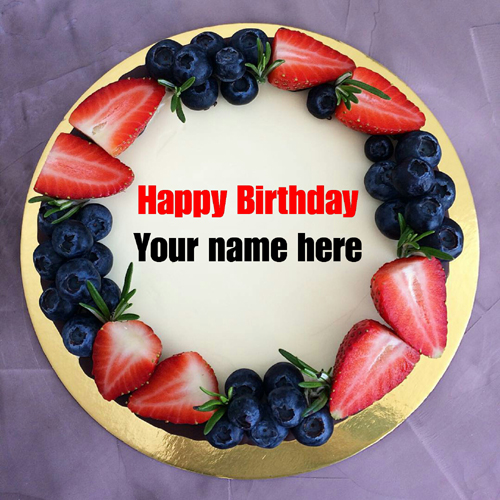 Write Friend Name On Fruit Birthday Cake