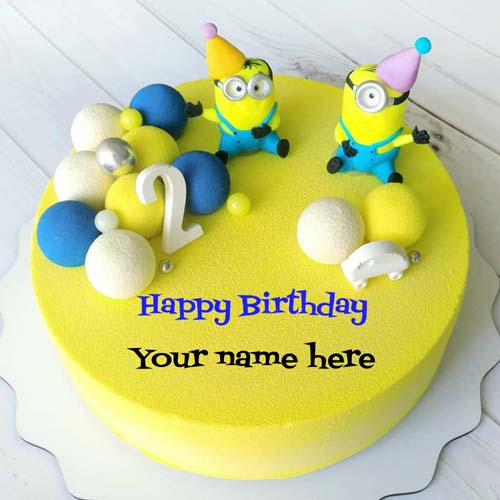 Happy 2nd Birthday Cake With Minion Cartoon On It