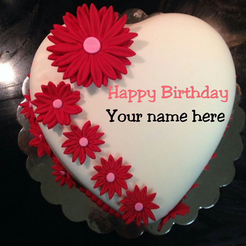 Beautiful Heart Shaped Birthday Cake With Name For Love