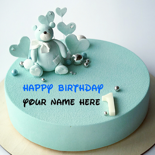 Happy 1st Birthday Wishes Cake For Kid With Name