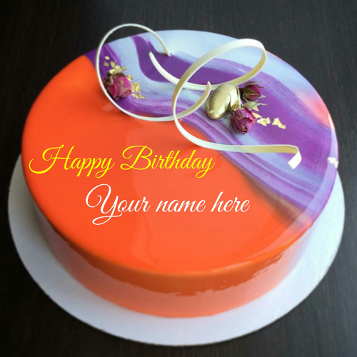 Orange Flavor Birthday Cake With Name On It For Hubby