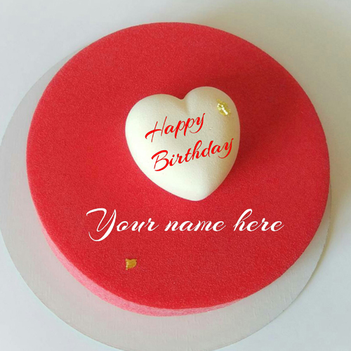 Red Velvet Heart Birthday Cake With Name For Love