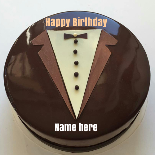 Chocolate Suit Birthday Cake With Name For Dear Papa