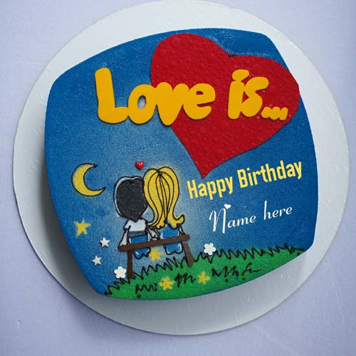 Romantic Happy Birthday Cake For Love With Name On It