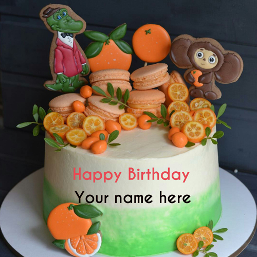 Cartoon Birthday Cake For Kid With Orange Toppings