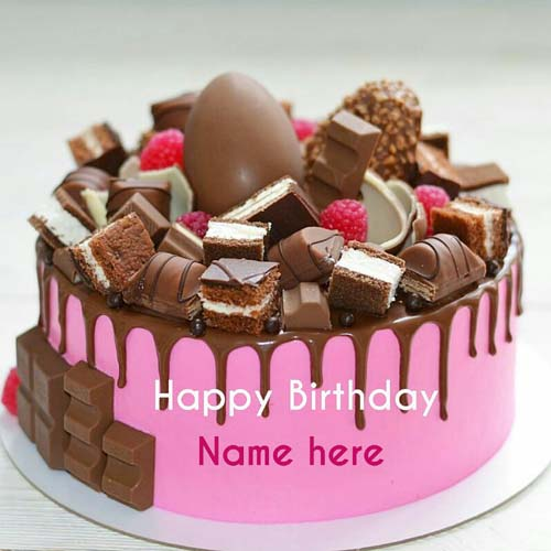 Strawberry Chocolate Birthday Cake For Friend With Name