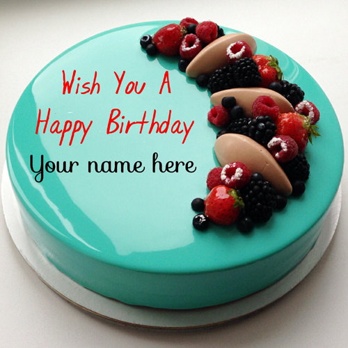 Write Name On Happy Birthday Cake With Fruit Toppings