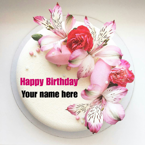 Write Name On Flower Decorated Vanilla Birthday Cake