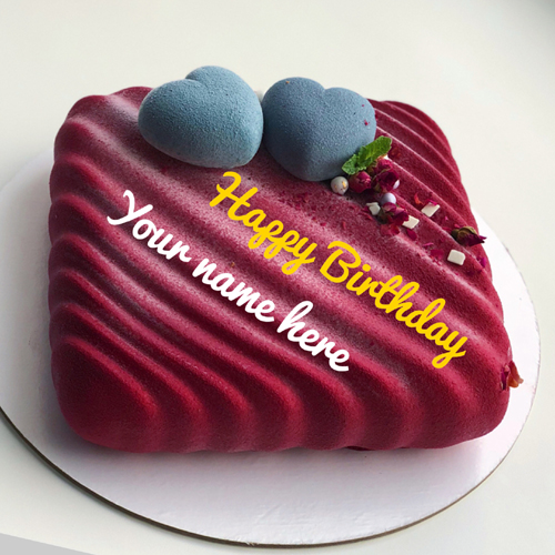 Print Name On Birthday Cake With Heart For Love