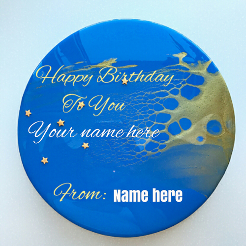 Blue Color Birthday Cake With Name For Best Friend