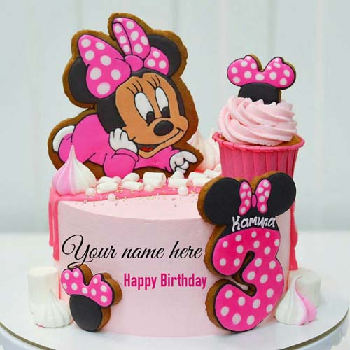 Minnie Mouse Happy 3rd Birthday Wishes Cake With Name