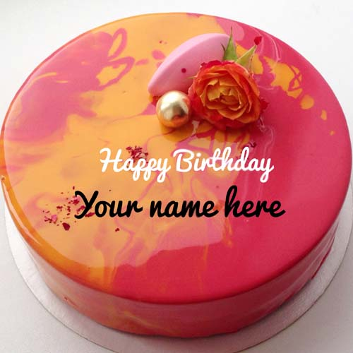 Orange rose flower birthday cake with friend name