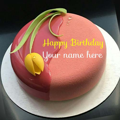 Peach Flavor Yummy Velvet Birthday Cake With Name
