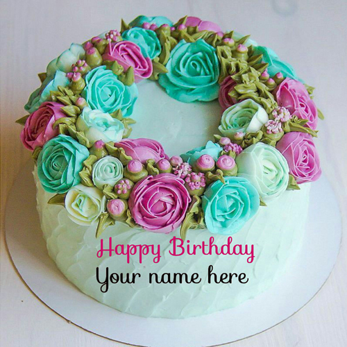 Multicolor Rose Flower Birthday Cake With Name On It