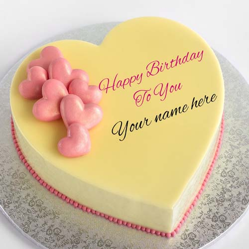 Mango Flavor Heart Birthday Cake For Love With Name On