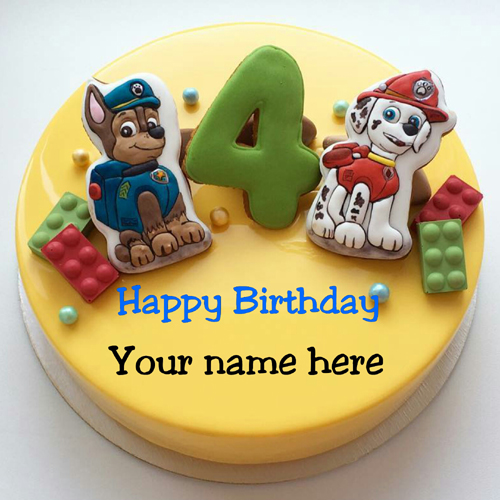 Happy 4th birthday wishes cake with name for kid make your personalized cake here m4hsunfo