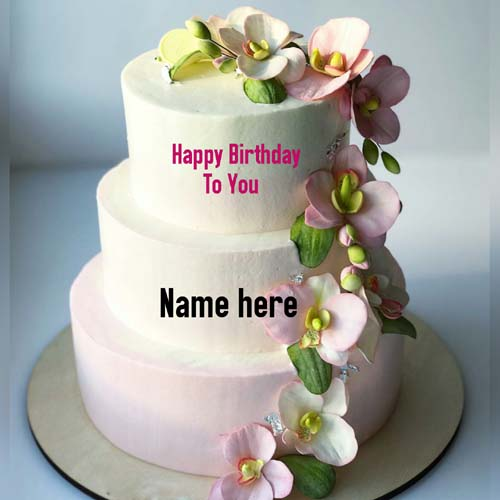 Three Layer Flower Decorated Vanilla Birthday Name Cake